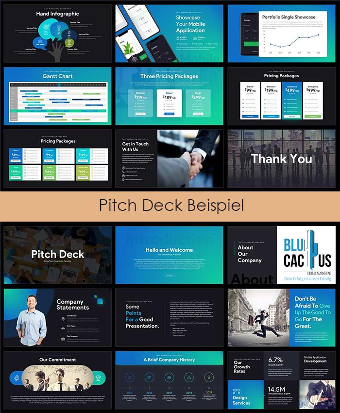 Blucactus-Präsentation Design-Firma-Pitch Deck Beispiel